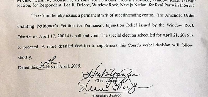 Navajo Supreme Court orders election to be held